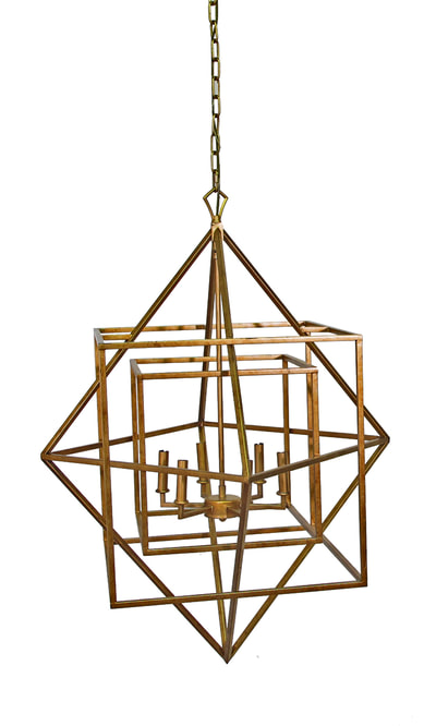 Brass geometric chandelier
